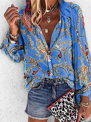 رخيصةأون بلوزات نسائية-نسائي قميص ترايبال فضفاض قمم قبعة القميص أزرق أرجواني أحمر