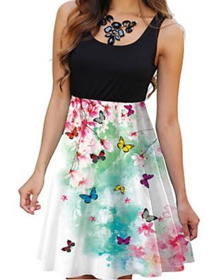 cheap Summer Dresses-Women's A Line Dress - Sleeveless Print White Black Blue Red Yellow Green S M L XL XXL XXXL XXXXL XXXXXL