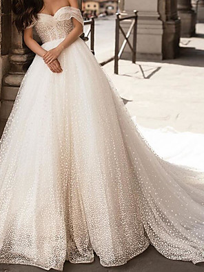 cheap Wedding Dresses-Ball Gown Wedding Dresses Off Shoulder Chapel Train Tulle Polyester Short Sleeve Country Plus Size with Pearls Appliques 2020