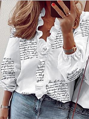 cheap Women's Blouses & Shirts-Women's Daily Shirt Geometric Print Lace Trims Long Sleeve Tops V Neck White Black Blushing Pink