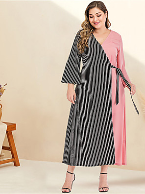 cheap Plus Size Dresses-Women's Plus Size Maxi A Line Dress - Long Sleeve Striped Color Block Solid Color Patchwork Spring & Summer V Neck Casual Elegant Daily Going out Flare Cuff Sleeve Blushing Pink L XL XXL XXXL XXXXL