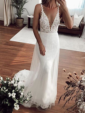 cheap Wedding Dresses-Mermaid / Trumpet Wedding Dresses Plunging Neck Sweep / Brush Train Lace Tulle Sleeveless Country Plus Size with Embroidery 2020