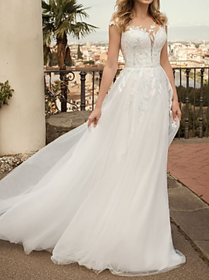cheap Wedding Dresses-A-Line Wedding Dresses Jewel Neck Sweep / Brush Train Tulle Cap Sleeve Country Plus Size with Embroidery Appliques 2020
