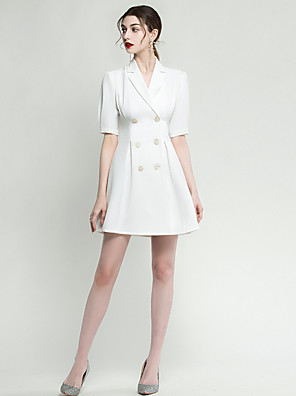 cheap Evening Dresses-A-Line Minimalist White Homecoming Cocktail Party Dress V Neck Half Sleeve Short / Mini Spandex with Buttons 2020