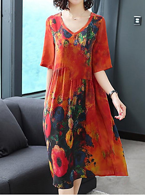cheap Print Dresses-Women's Shift Dress Midi Dress - 3/4 Length Sleeve Geometric V Neck Elegant Red Green M L XL XXL XXXL XXXXL XXXXXL