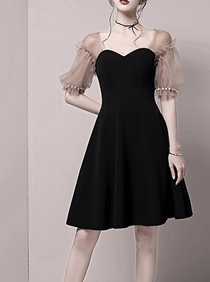 cheap Wedding Dresses-A-Line Little Black Dress Black Homecoming Cocktail Party Dress Sweetheart Neckline Short Sleeve Short / Mini Spandex with Pearls 2020