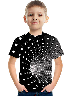 cheap Boys' Tops-Kids Boys' Active Street chic Color Block 3D Print Short Sleeve Tee Black