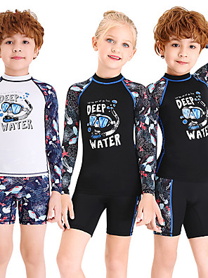 cheap Wetsuits, Diving Suits & Rash Guard Shirts-Dive&Sail Boys' Girls' Rash Guard Dive Skin Suit Rashguard Swimsuit Elastane Swimwear UV Sun Protection Breathable Long Sleeve 2-Piece - Swimming Diving Water Sports 3D Print Autumn / Fall Spring