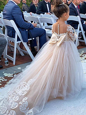 cheap Flower Girl Dresses-Ball Gown Court Train Wedding Flower Girl Dresses - Polyester 3/4 Length Sleeve Boat Neck with Bow(s) / Solid