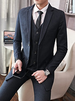 cheap Men's Pants & Shorts-Men's Suits, Striped Notch Lapel Polyester Light gray / Dark Gray