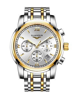 cheap Quartz Watches-GUANQIN Men's Sport Watch Quartz Formal Style Fashion Chronograph Stainless Steel Silver Analog - Digital - White+Golden White+Sky Blue White Two Years Battery Life / Japanese / Stopwatch / Japanese