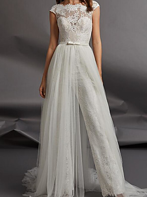 cheap Wedding Dresses-Jumpsuits Wedding Dresses Jewel Neck Floor Length Detachable Lace Tulle Cap Sleeve Country Plus Size with Sashes / Ribbons Appliques 2020