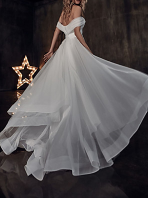 cheap Wedding Dresses-A-Line Wedding Dresses Off Shoulder Sweep / Brush Train Tulle Short Sleeve Country Plus Size with Ruched 2020