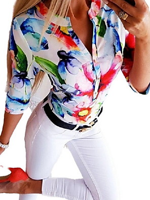 cheap Summer Dresses-Women's Solid Colored Print Shirt Daily V Neck Blue / Red / Orange / Gray