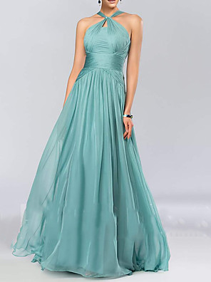 cheap Prom Dresses-A-Line Halter Neck Floor Length Chiffon Bridesmaid Dress with Pleats / Draping