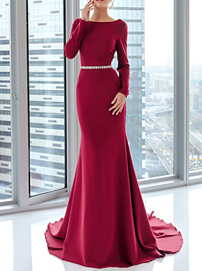 cheap Evening Dresses-Mermaid / Trumpet Elegant Red Engagement Formal Evening Dress Boat Neck Long Sleeve Court Train Satin with Sash / Ribbon 2020