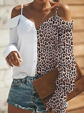 cheap Women's Blouses & Shirts-Women's Shirt Leopard Loose Tops Strap White Black / Long Sleeve