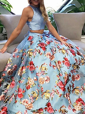 cheap Evening Dresses-Two Piece Floral Blue Engagement Formal Evening Dress Halter Neck Sleeveless Sweep / Brush Train Polyester with Pattern / Print 2020