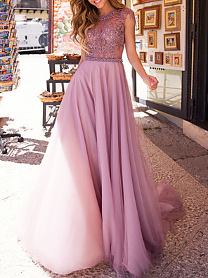cheap Evening Dresses-A-Line Cut Out Sexy Engagement Prom Dress Jewel Neck Sleeveless Floor Length Satin Tulle with Sash / Ribbon Appliques 2020