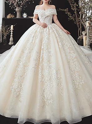 cheap Wedding Dresses-Ball Gown Wedding Dresses Off Shoulder Watteau Train Lace Tulle Short Sleeve Formal Wedding Dress in Color with Appliques 2020