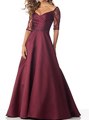 cheap Evening Dresses-A-Line Mother of the Bride Dress Sexy V Neck Floor Length Satin Half Sleeve with Sash / Ribbon Beading 2020