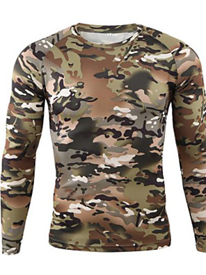cheap Hiking Trousers & Shorts-Men's Camo Hiking Sweatshirt Long Sleeve Outdoor Quick Dry Ultraviolet Resistant Stretchy Sweat-wicking Tee / T-shirt Autumn / Fall Spring Terylene Climbing Camping / Hiking / Caving Gray+White Light