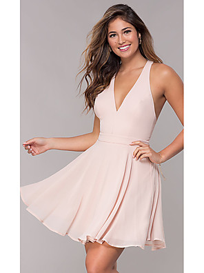 cheap Evening Dresses-A-Line Beautiful Back Flirty Homecoming Cocktail Party Dress Halter Neck Sleeveless Short / Mini Chiffon with Bow(s) Criss Cross 2020