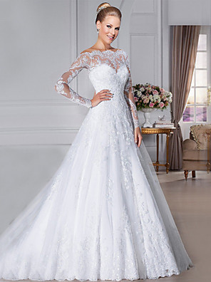 cheap Wedding Dresses-A-Line Wedding Dresses Off Shoulder Court Train Organza Long Sleeve Sexy See-Through with Appliques 2020