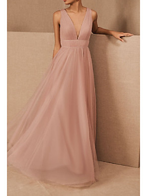 cheap Bridesmaid Dresses-A-Line V Neck Floor Length Tulle / Stretch Satin Bridesmaid Dress with Pleats