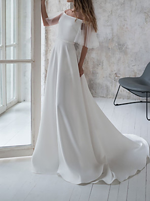 cheap Wedding Dresses-A-Line Wedding Dresses Off Shoulder Sweep / Brush Train Stretch Satin Short Sleeve Country Illusion Sleeve with Draping 2020