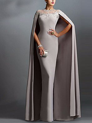 cheap Evening Dresses-Sheath / Column Sexy Grey Wedding Guest Formal Evening Dress Illusion Neck Short Sleeve Floor Length Chiffon with Lace Insert Appliques 2020