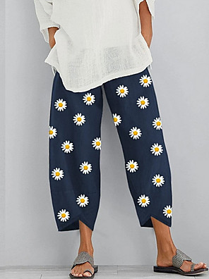 cheap Print Dresses-Women's Basic Loose Chinos Pants Floral Daisy White Khaki Navy Blue S M L