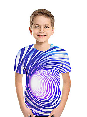 cheap Boys' Clothing-Kids Boys' Active Streetwear Geometric 3D Patchwork Pleated Print Short Sleeve Tee Black