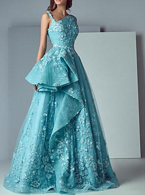 cheap Prom Dresses-A-Line Floral Engagement Prom Dress V Neck Sleeveless Floor Length Polyester with Appliques 2020