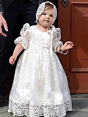 cheap Christening Gowns-Princess Floor Length First Communion Christening Gowns - POLY Half Sleeve Jewel Neck with Lace / Bow(s) / Appliques
