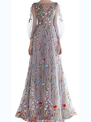 cheap Prom Dresses-A-Line Floral Grey Wedding Guest Prom Dress Boat Neck 3/4 Length Sleeve Floor Length Tulle with Embroidery 2020