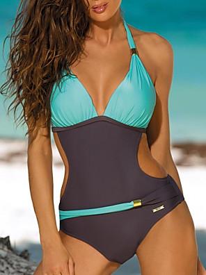 cheap Tankinis-Women's Blushing Pink Yellow Blue One-piece Swimwear Swimsuit - Color Block S M L Blushing Pink