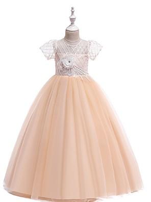 cheap Junior Bridesmaid Dresses-Ball Gown Round Floor Length Cotton Junior Bridesmaid Dress with Bow(s) / Appliques