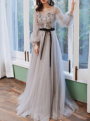 cheap Evening Dresses-A-Line Floral Grey Engagement Prom Dress Jewel Neck Long Sleeve Sweep / Brush Train Tulle with Appliques 2020 / Illusion Sleeve