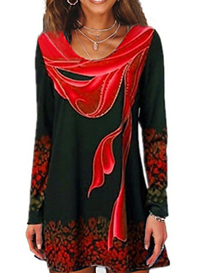 cheap Women's Blouses & Shirts-Women's T-shirt Geometric Long Sleeve Tops Blue Red Green