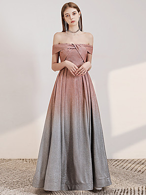 cheap Prom Dresses-A-Line Color Block Sparkle Engagement Formal Evening Dress Off Shoulder Short Sleeve Floor Length Sequined with Sequin 2020