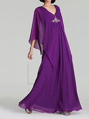 cheap Mother of the Bride Dresses-A-Line Mother of the Bride Dress Elegant V Neck Floor Length Chiffon 3/4 Length Sleeve with Beading Sequin 2020