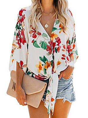 cheap Women's Blouses & Shirts-Women's Shirt Floral Print Knotted Tops V Neck White Yellow Orange