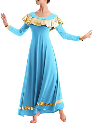 cheap Evening Dresses-Ballroom Dance Dress Pleats Women's Performance Long Sleeve Stretch Chiffon