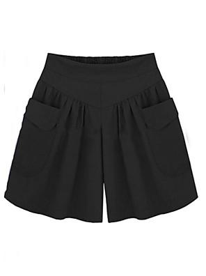 cheap Summer Dresses-Women's Basic Loose Shorts Pants - Solid Colored High Waist Cotton Black Army Green Khaki L / XL / XXL