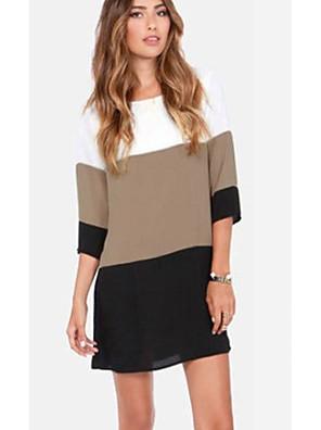 cheap Women's T-shirts-Women's Shift Dress - 3/4 Length Sleeve Color Block Black Blue Yellow S M L XL XXL