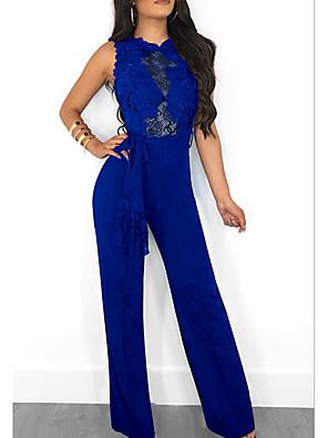 cheap Prom Dresses-Women's Wine Royal Blue Black Jumpsuit Onesie, Solid Colored S M L