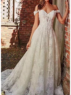 cheap Wedding Dresses-A-Line Wedding Dresses Off Shoulder Sweep / Brush Train Polyester Cap Sleeve Country Plus Size with Lace Insert Appliques 2020