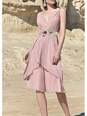 cheap Cocktail Dresses-A-Line Mother of the Bride Dress Elegant V Neck Knee Length Chiffon Sleeveless with Sash / Ribbon Beading Tier 2020