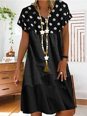 cheap Summer Dresses-Women's Plus Size A Line Dress - Short Sleeves Polka Dot Print Summer Casual Holiday Vacation Loose 2020 Black Red Yellow S M L XL XXL XXXL XXXXL XXXXXL